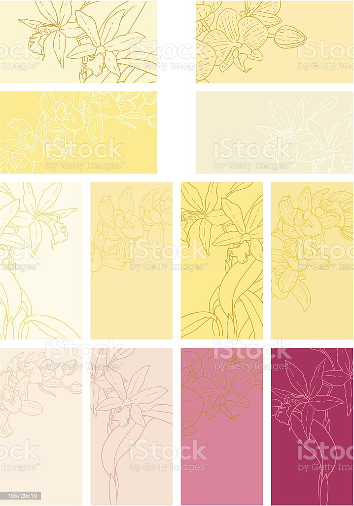 Collection of floral backgrounds with orchids royalty-free stock vector art