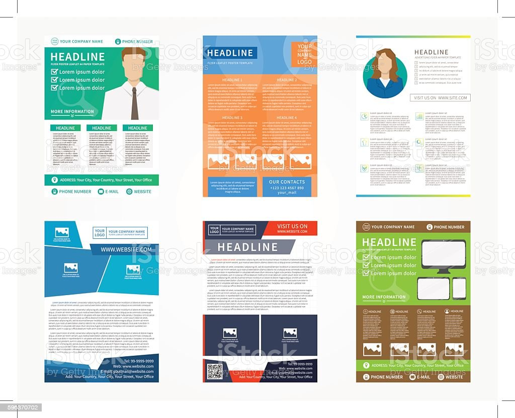 Collection (set) of flyer, leaflets, poster vector templates vector art illustration