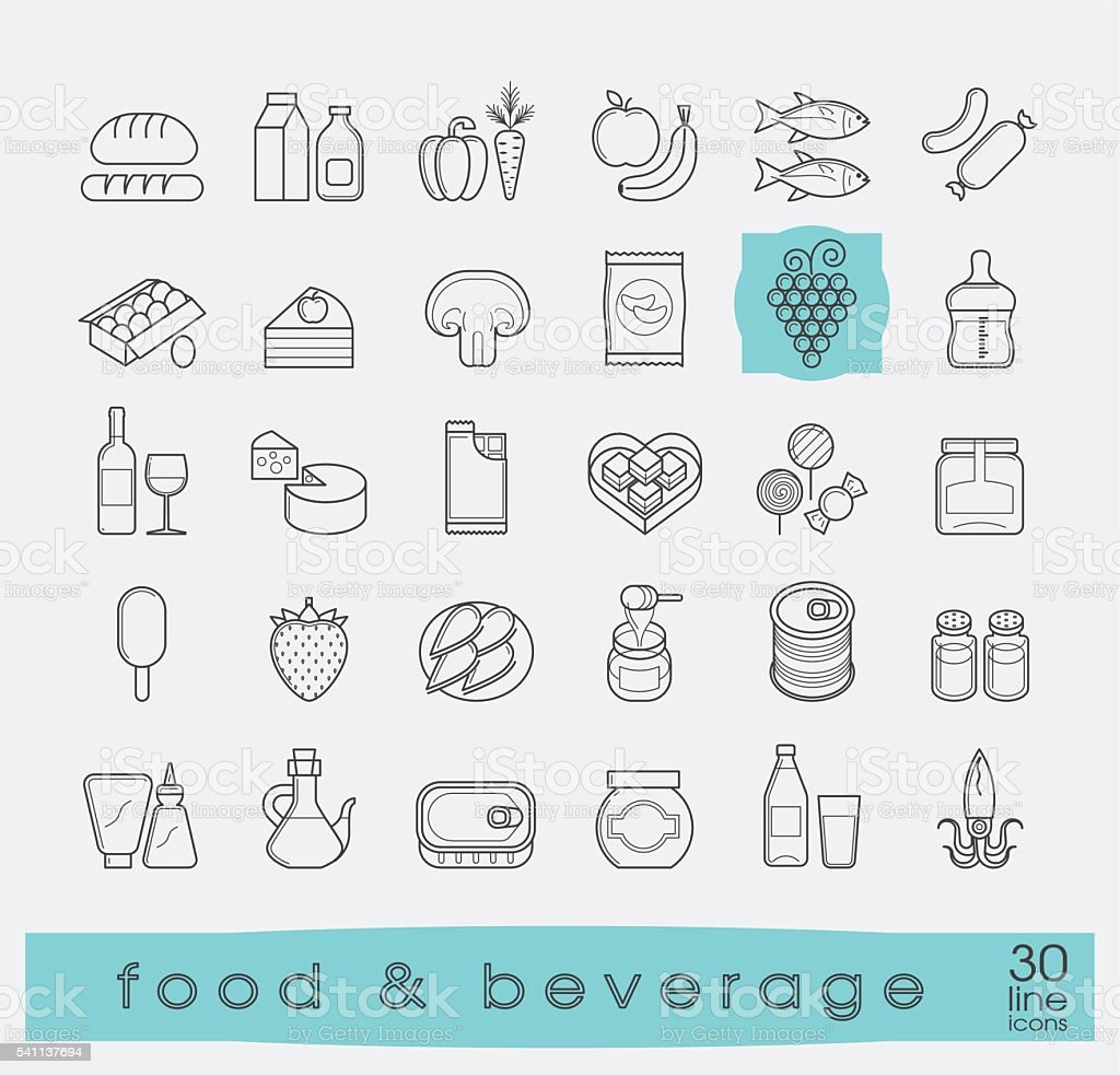 Collection of food and beverage icons. vector art illustration