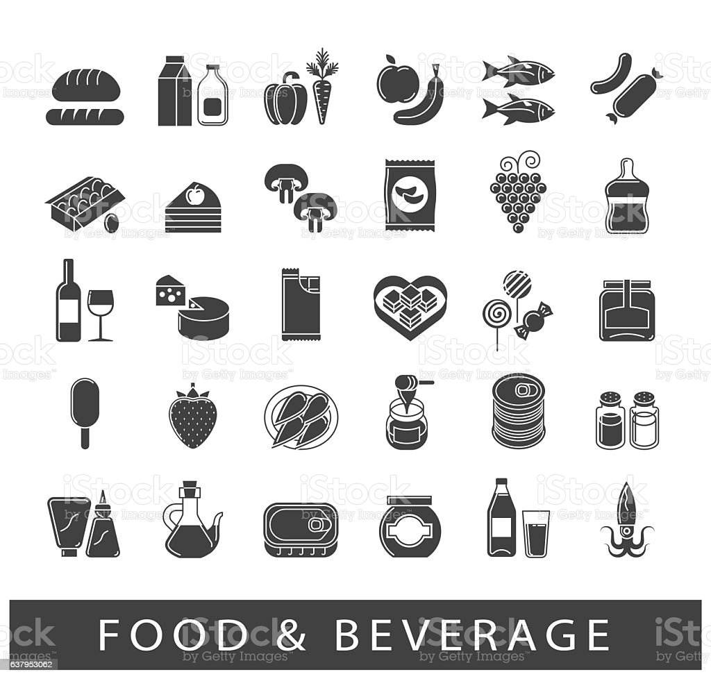 Collection of food and beverage icons vector art illustration