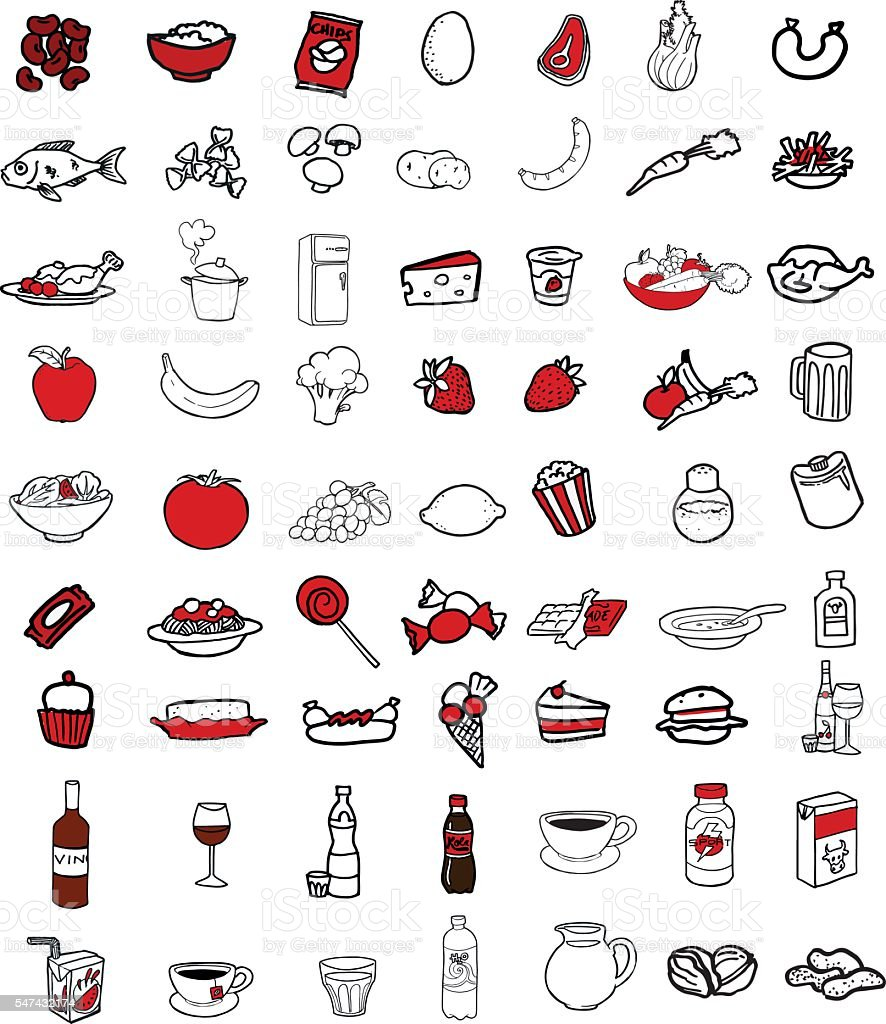 Collection of food icons vector art illustration