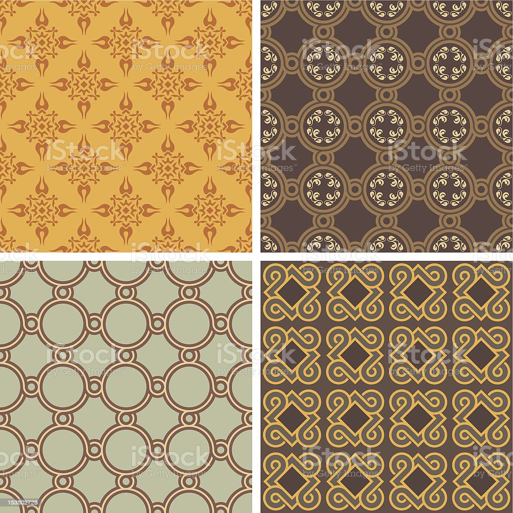 Collection of four decorative symmetric seamless patterns royalty-free stock vector art