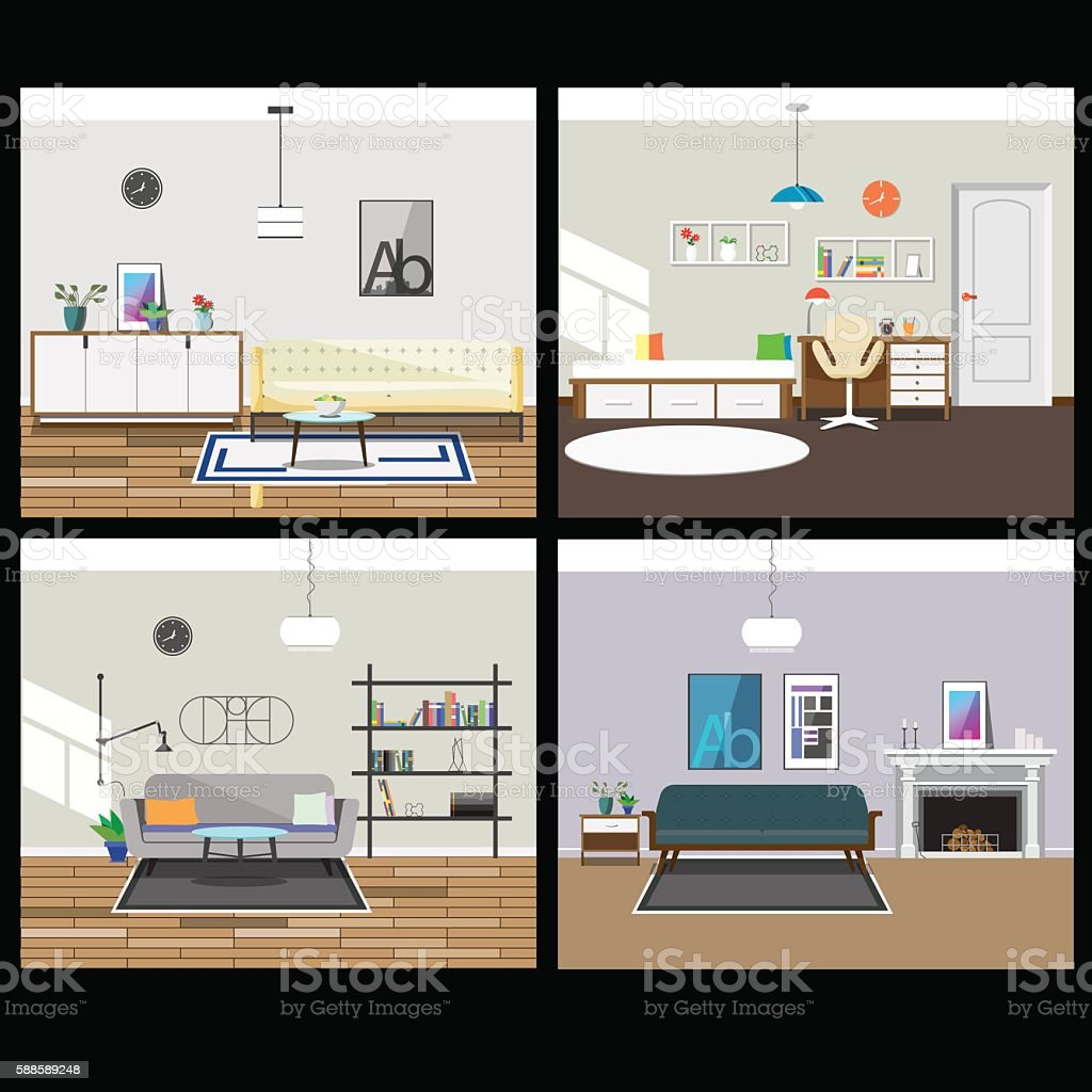 Collection of four interiors vector art illustration