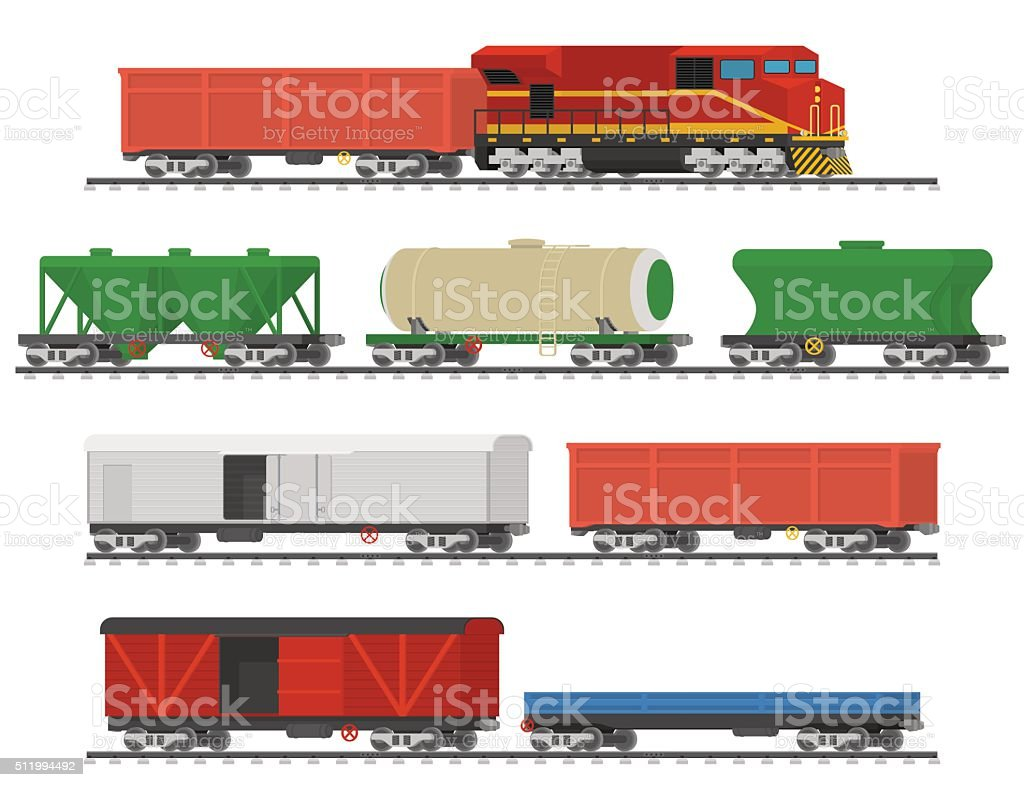 Collection of freight railway cars. Isolated on white background. vector art illustration