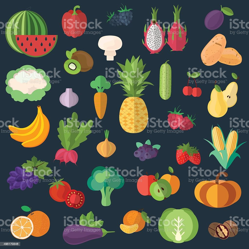 Collection of fruits and vegetables in a flat style_Black background vector art illustration