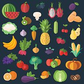Collection of fruits and vegetables in a flat style_Black background