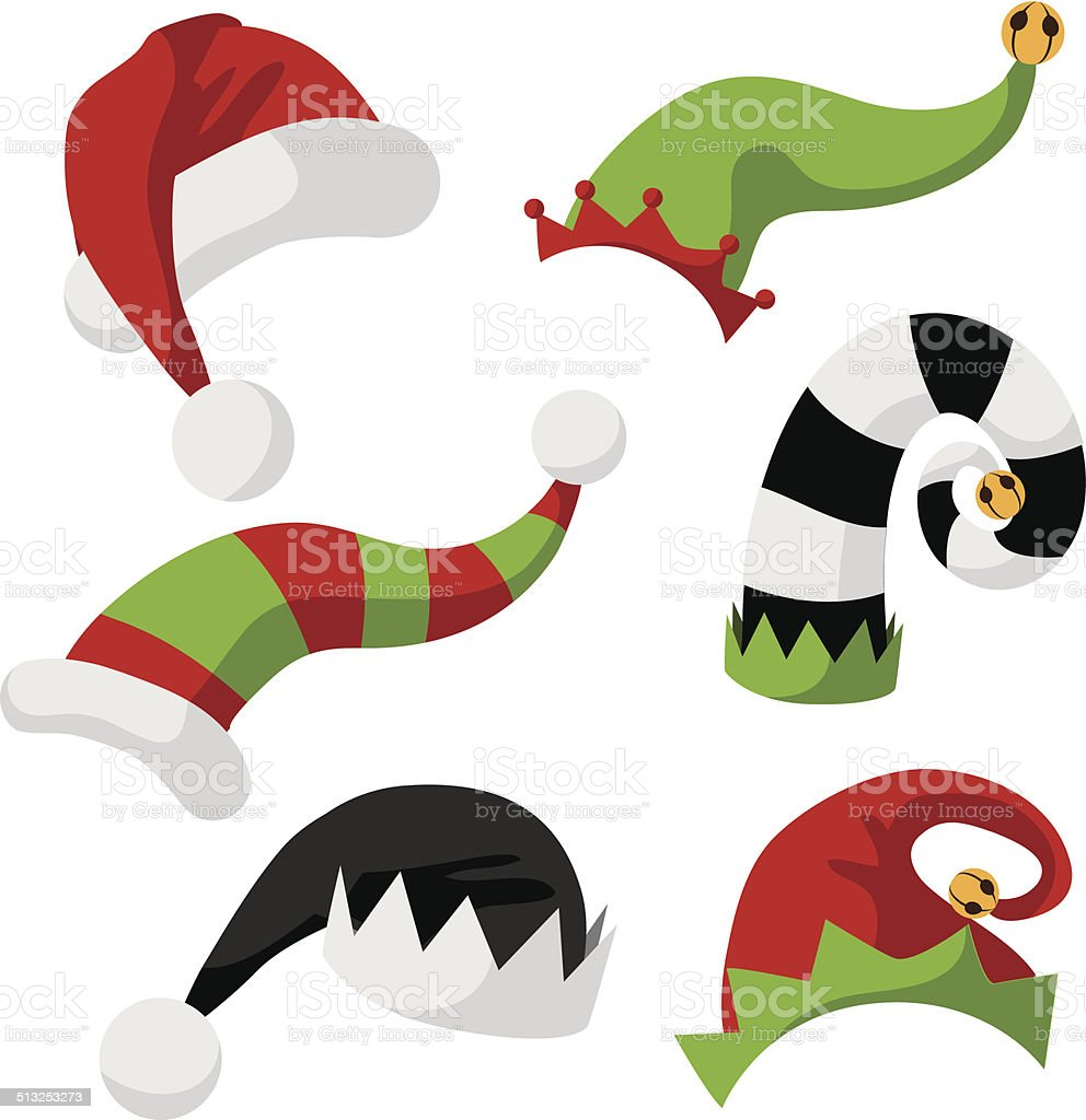 collection of fun holiday hats vector art illustration