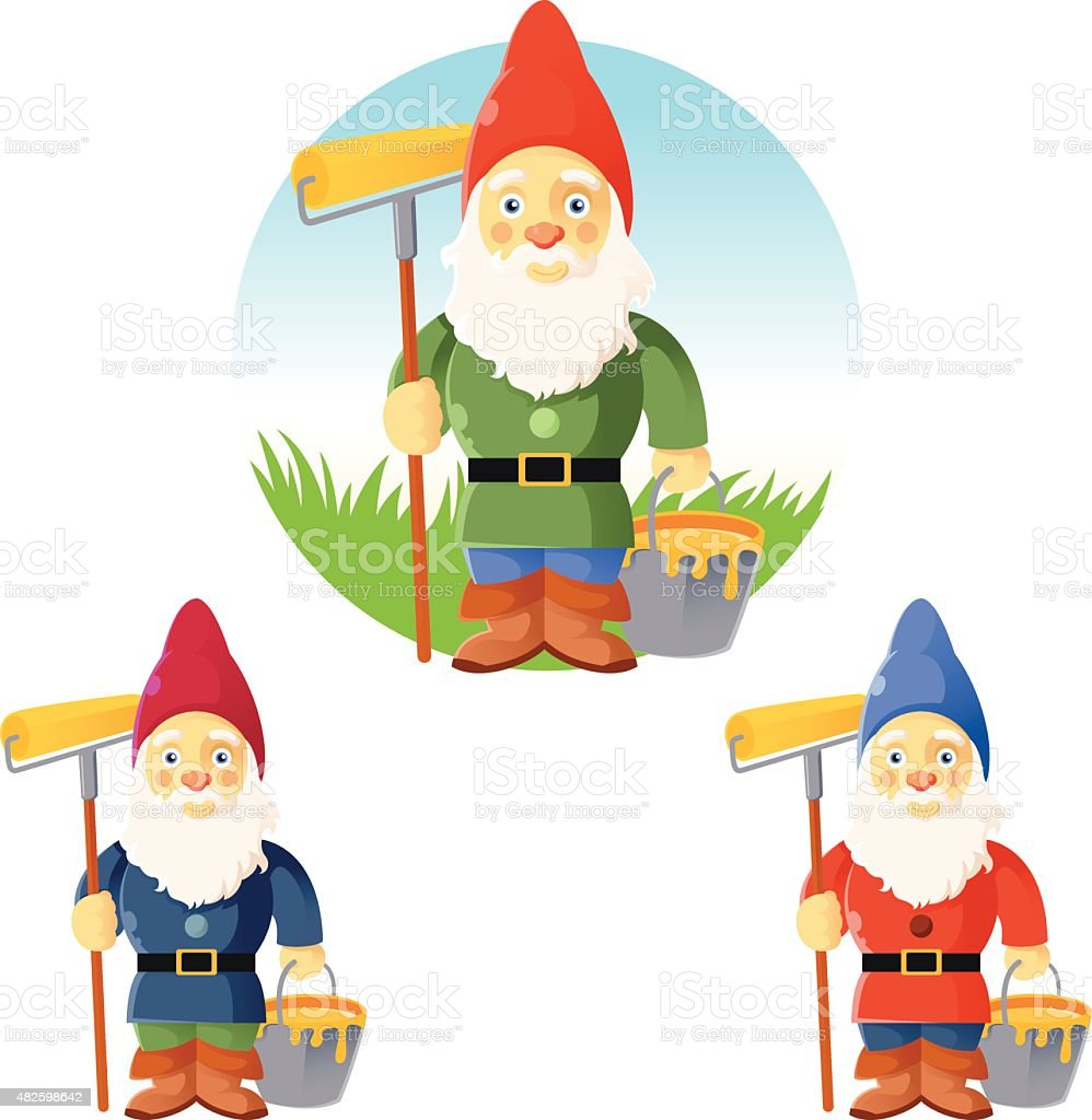 Collection of garden gnomes vector art illustration