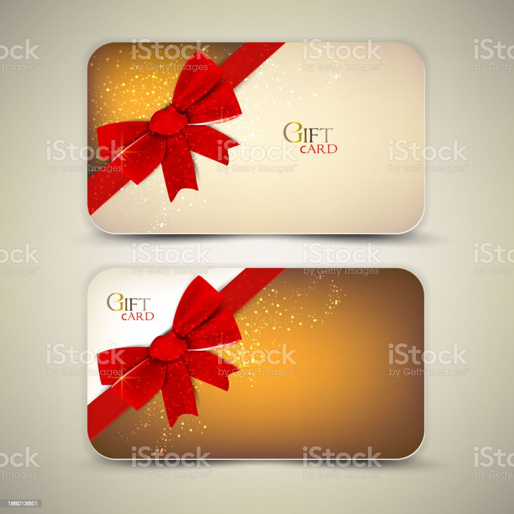Collection of gift cards with red ribbons. royalty-free stock vector art