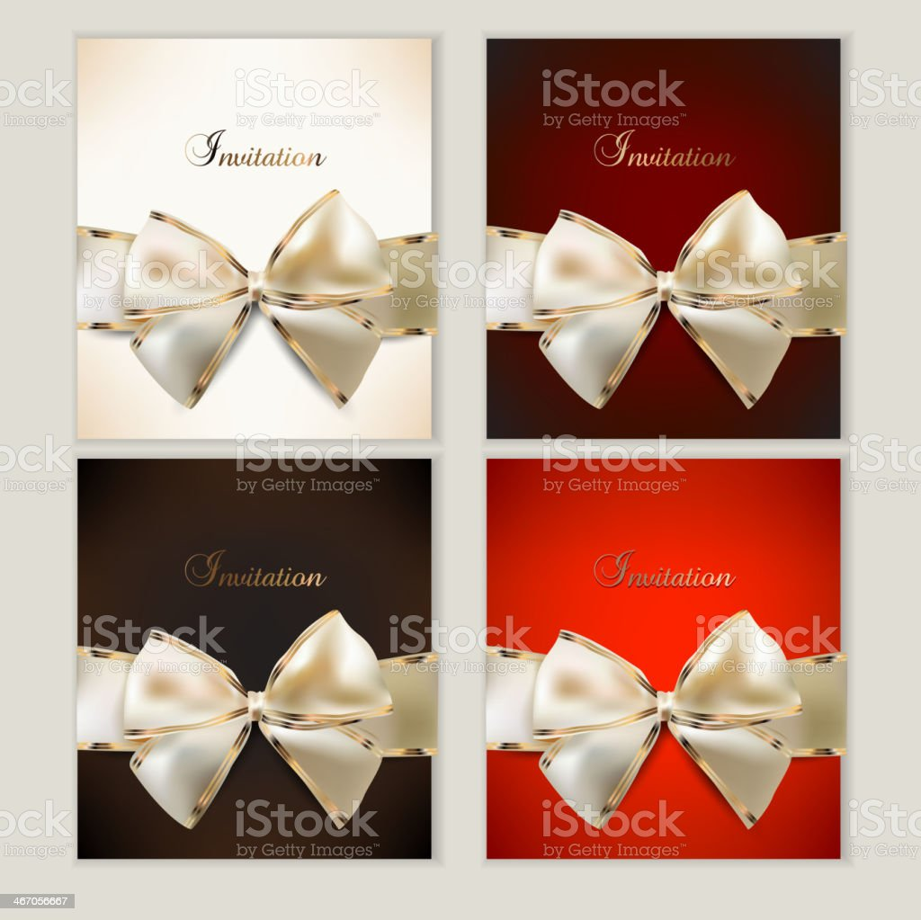 Collection of gift cards with ribbons. Vector background royalty-free stock vector art