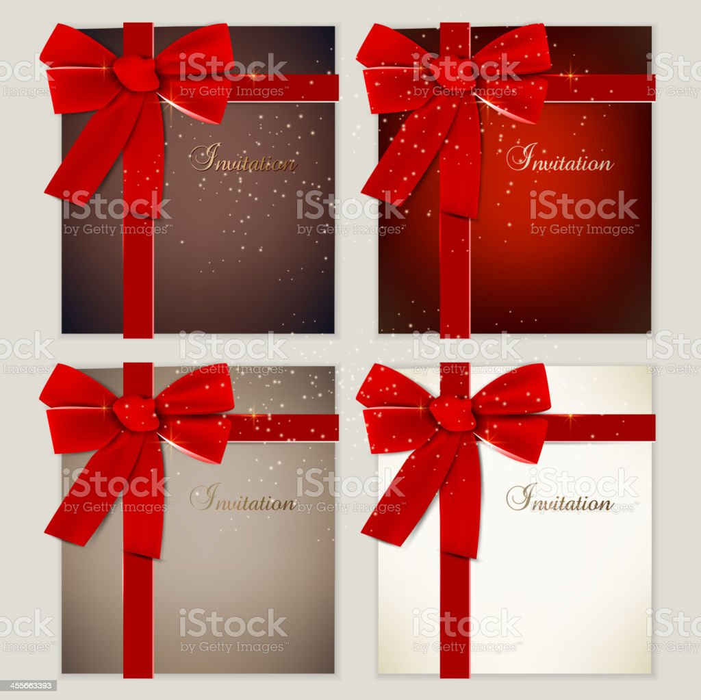 Collection of gift cards with ribbons. royalty-free stock vector art