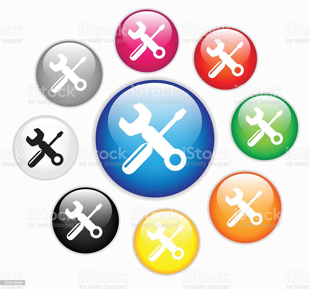 Collection of glossy buttons with spanner and screw-key vector art illustration