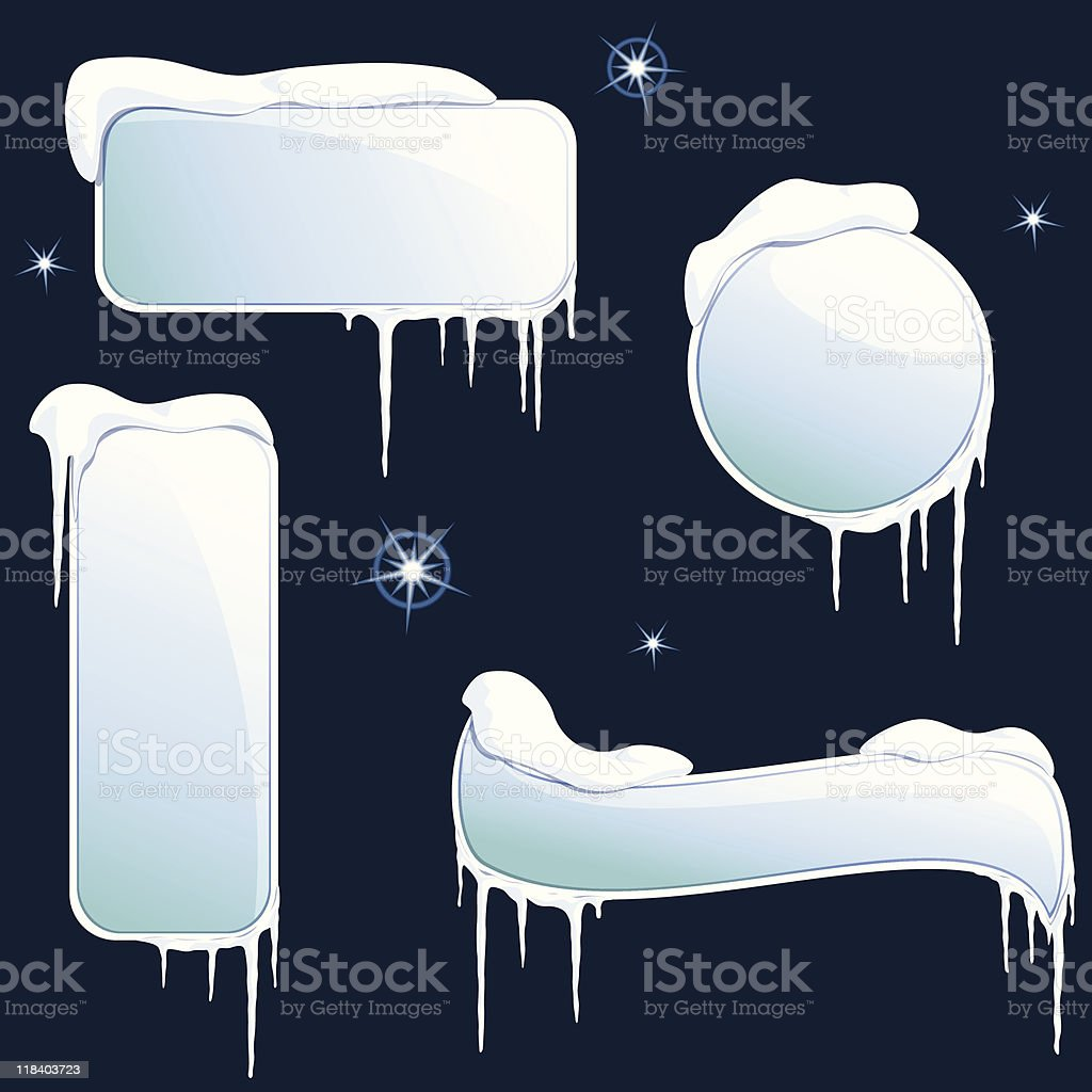 Collection of glossy winter banners vector art illustration