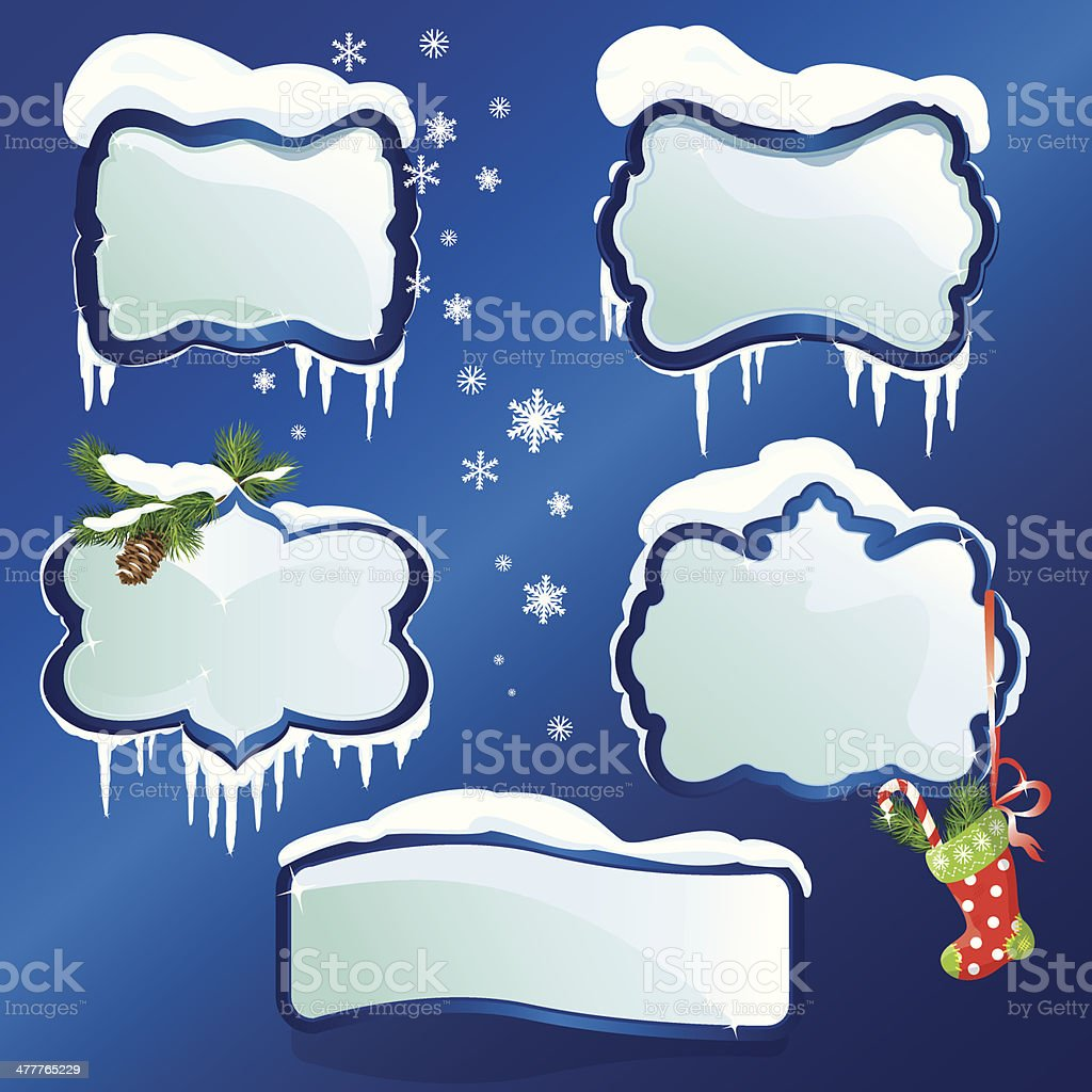 Collection of glossy winter frames with snowdrifts and icicles vector art illustration