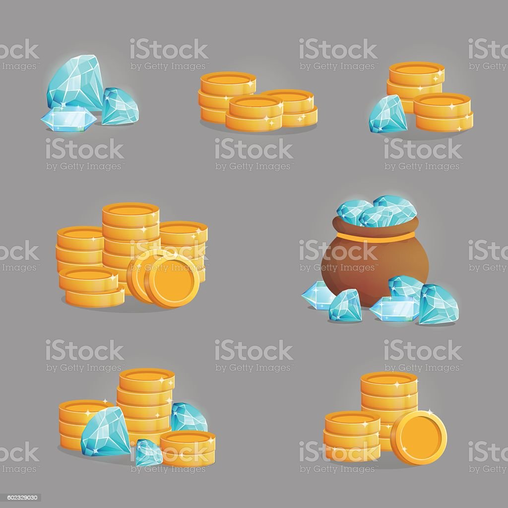 Collection of golden riches and gemstones vector art illustration