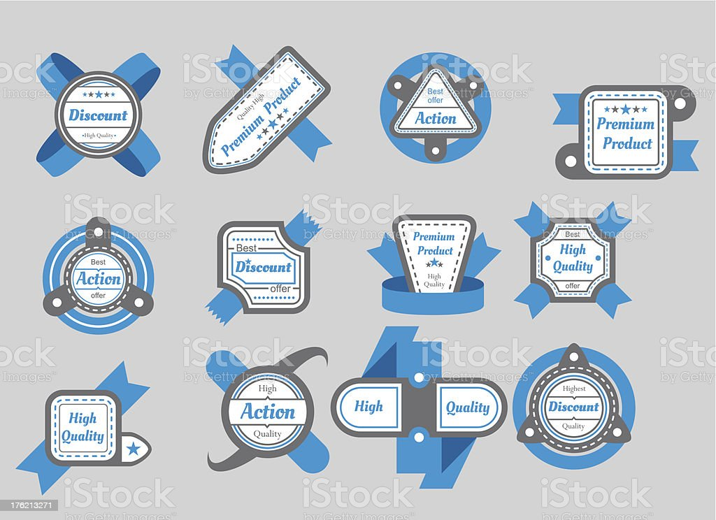 collection of gray seals with blue ribbons royalty-free stock vector art