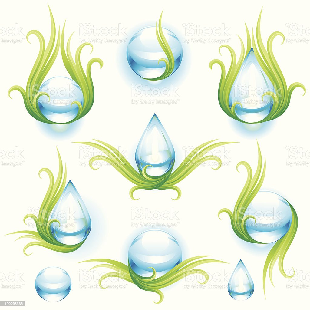 Collection of green and blue design elements on white royalty-free stock vector art