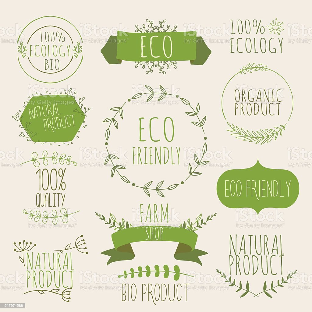 Collection of green labels and badges for organic, natural, bio vector art illustration