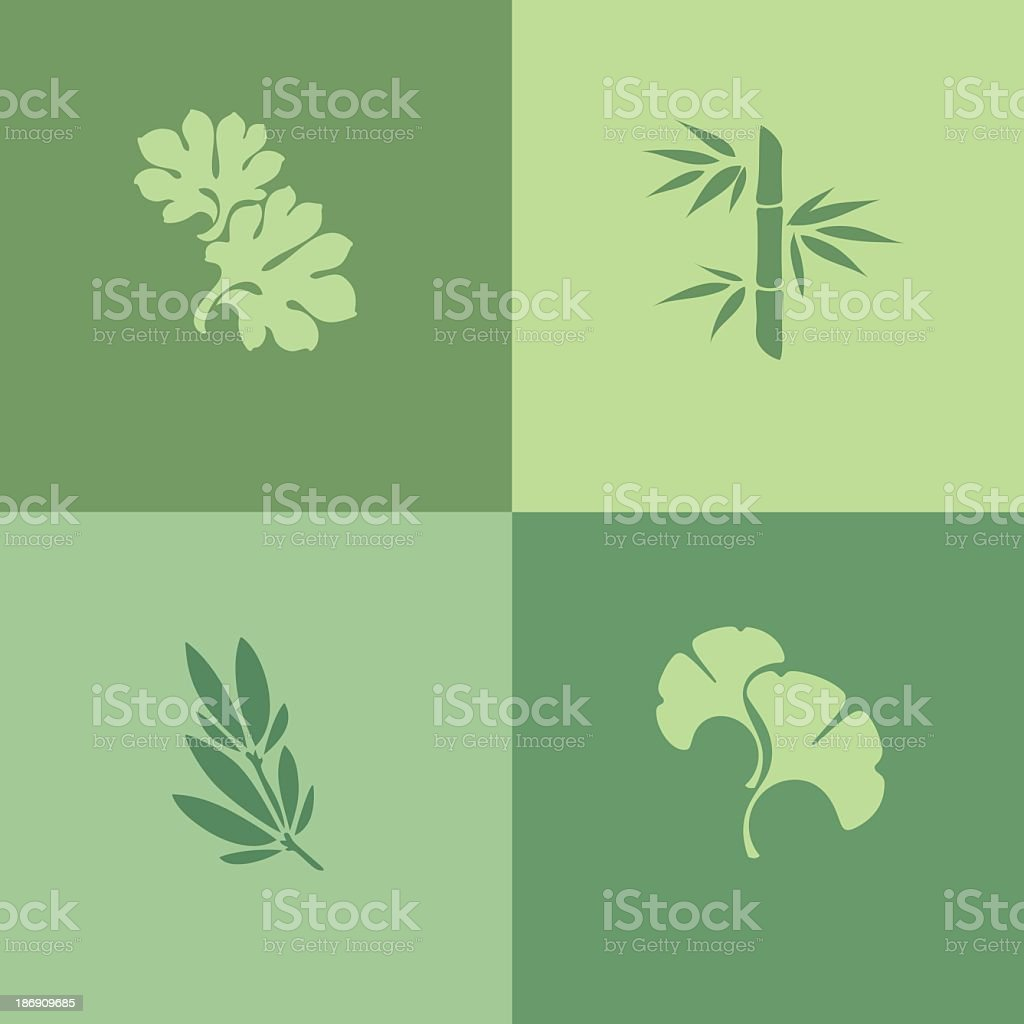 Collection of green leaf silhouettes on green background vector art illustration