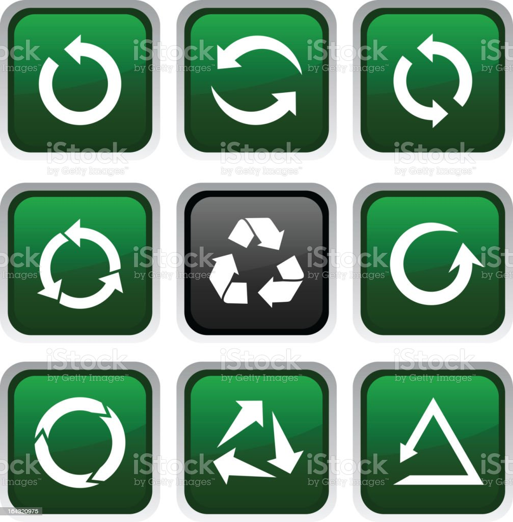 Collection of green recycling icons royalty-free stock vector art