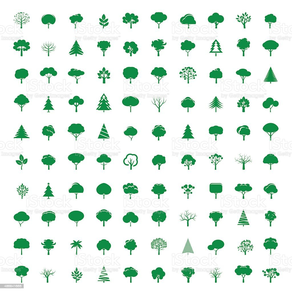 Collection of GREEN Trees. Vector symbol and icon. vector art illustration