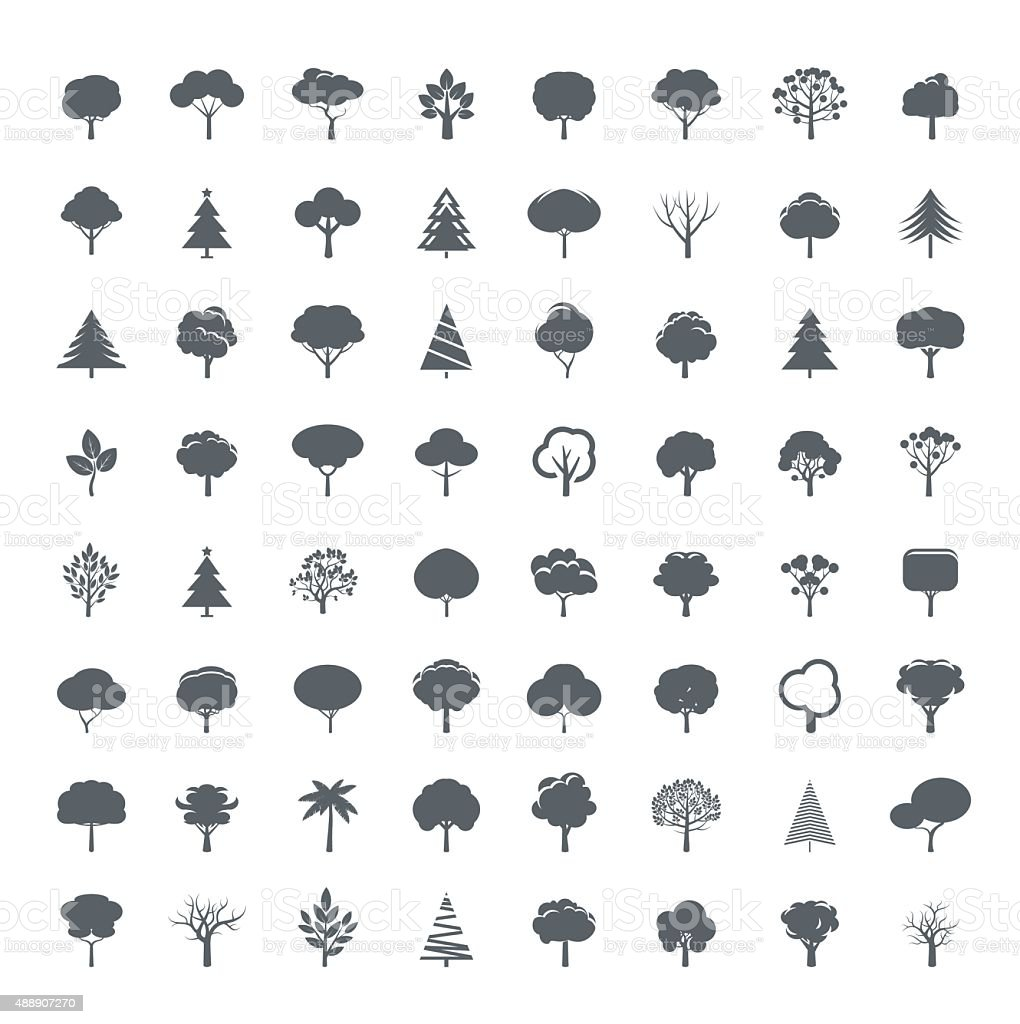 Collection of Grey Trees. Illustration and icons. vector art illustration