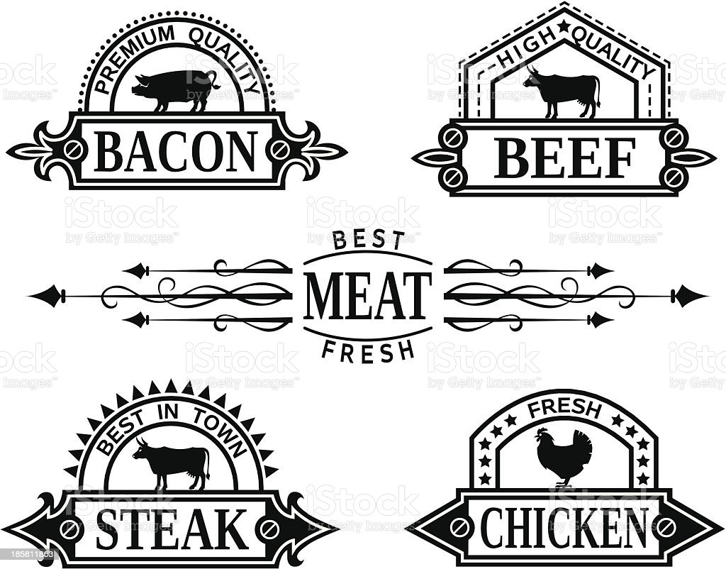 collection of grill labels royalty-free stock vector art