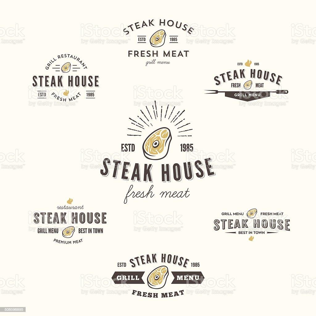 Collection of grill steak labels, badges and design elements vector art illustration