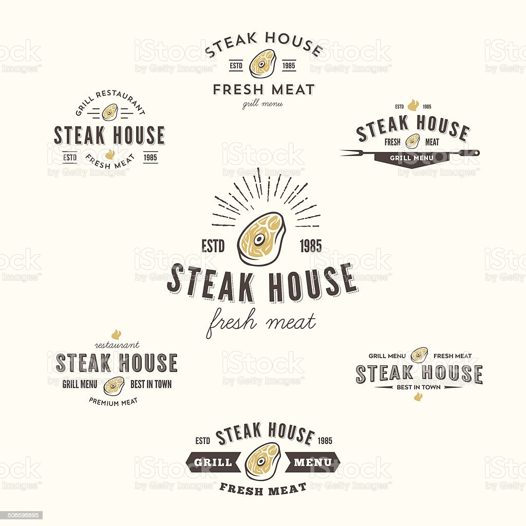 Collection of grill steak labels, badges and design elements vector art illustration