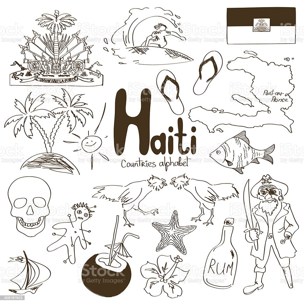 Collection of Haiti icons vector art illustration