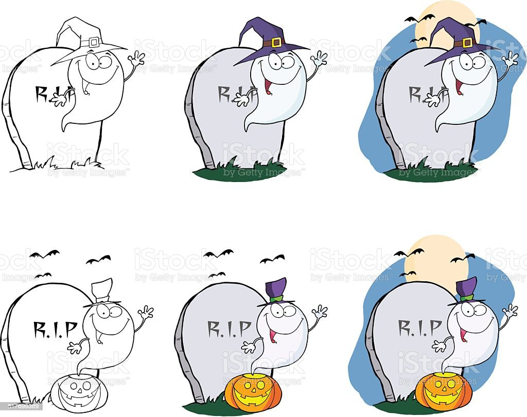 Collection of Hallowee Ghost - 2 vector art illustration