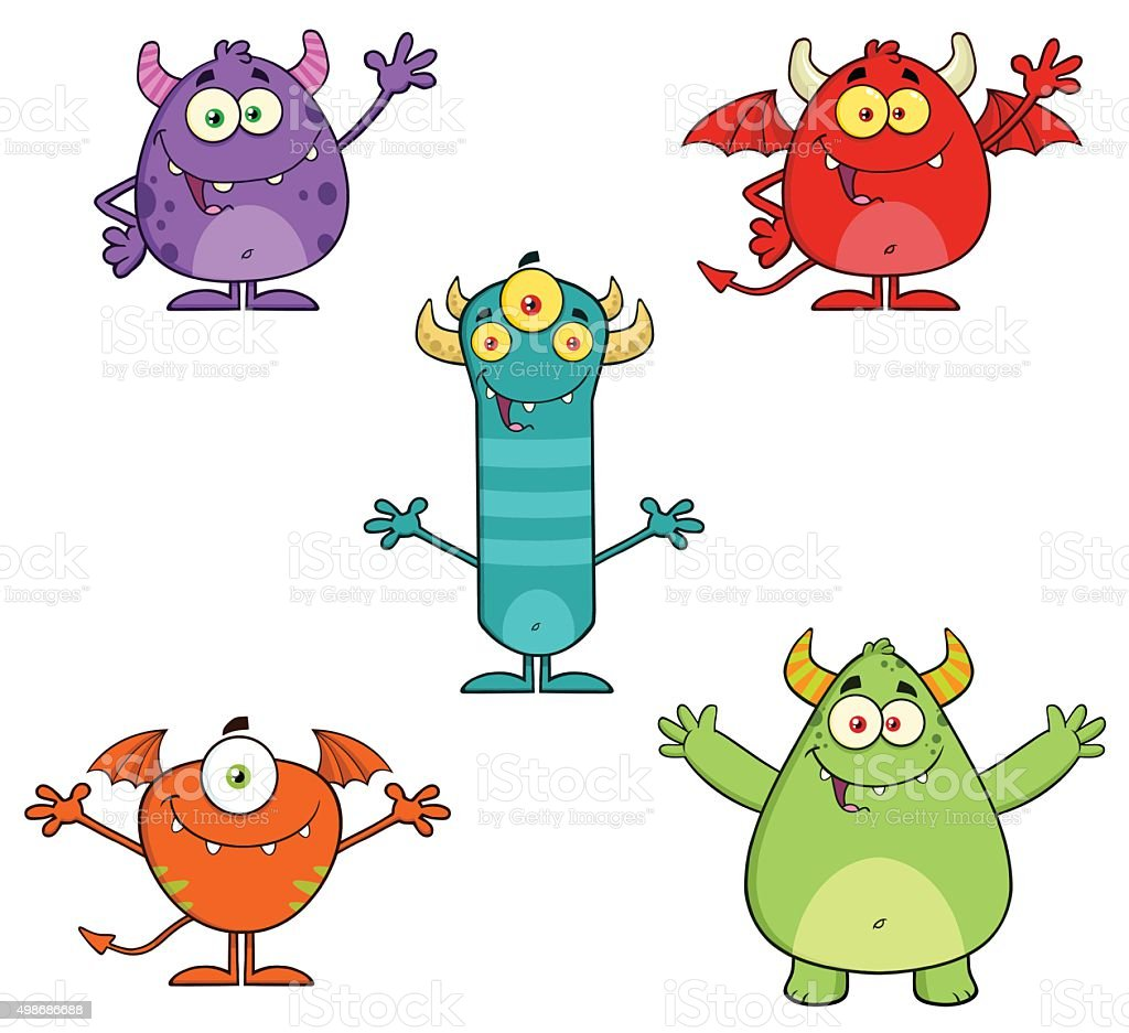 Collection of Halloween Monsters - 1 vector art illustration