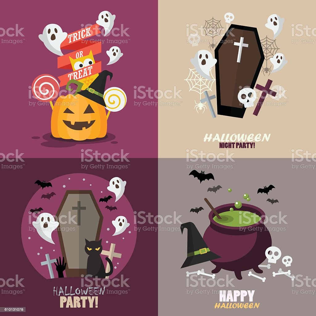 Collection of Halloween party greeting card vector art illustration