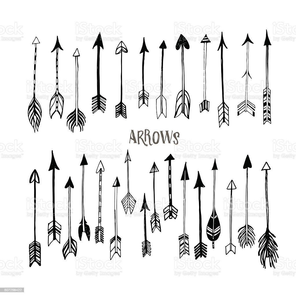 Collection of hand drawn arrows. vector art illustration