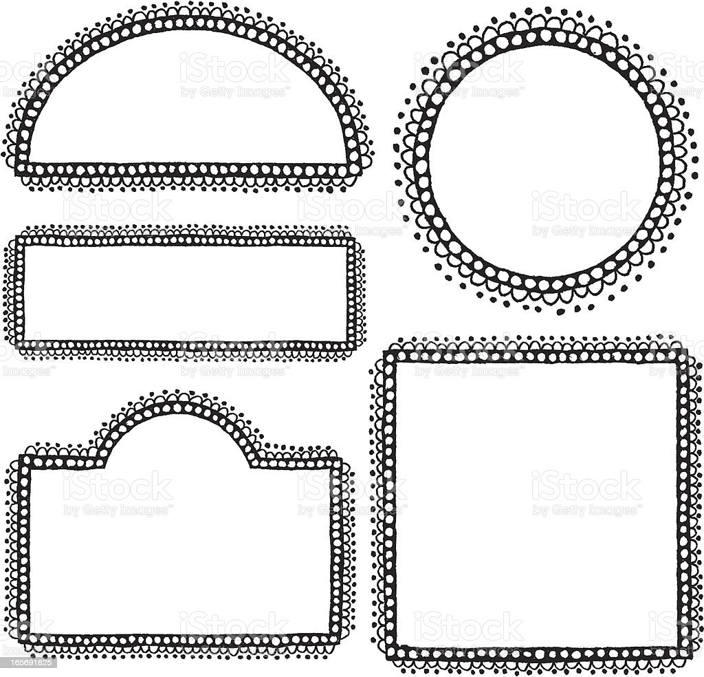 Collection of hand drawn borders and frames royalty-free stock vector art