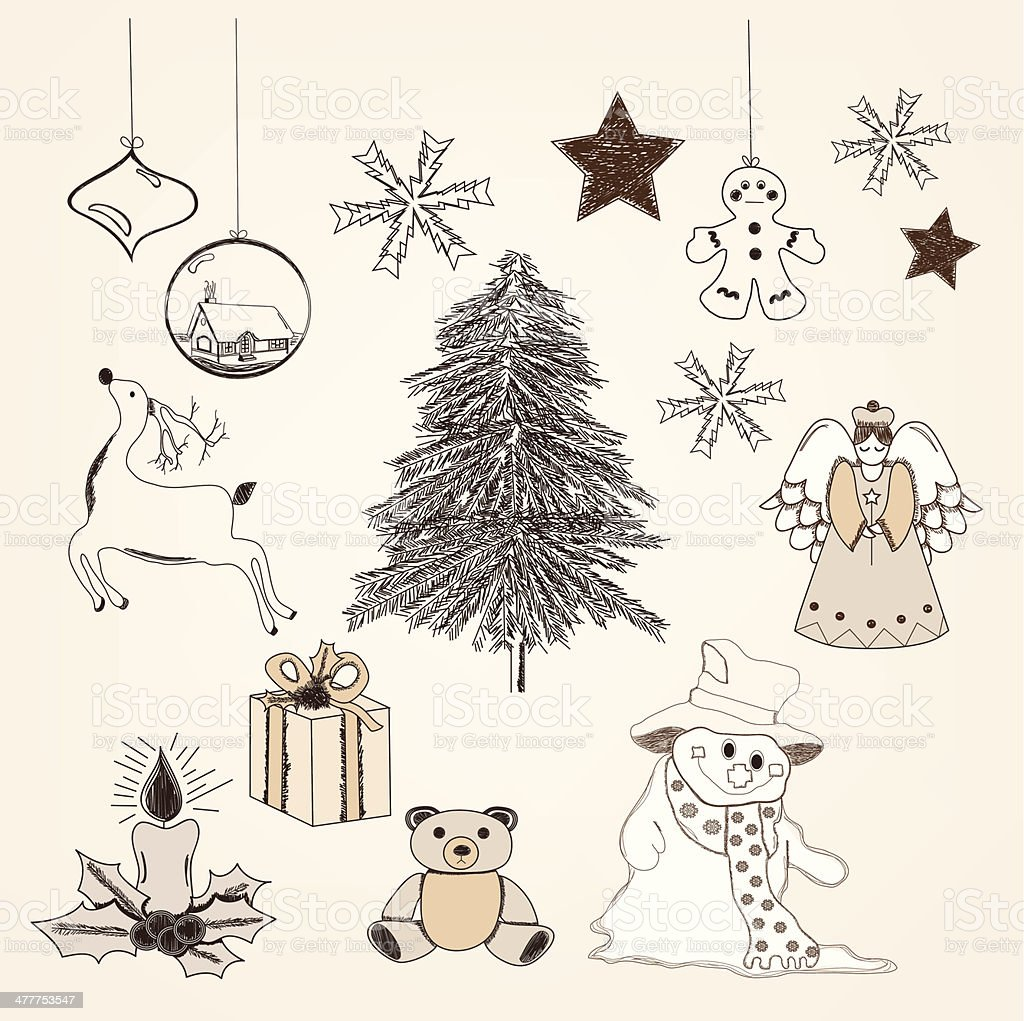 Collection of hand drawn christmas elements royalty-free stock vector art