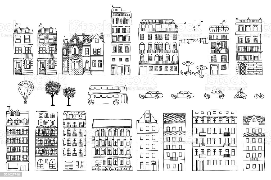Collection of hand drawn European style houses vector art illustration