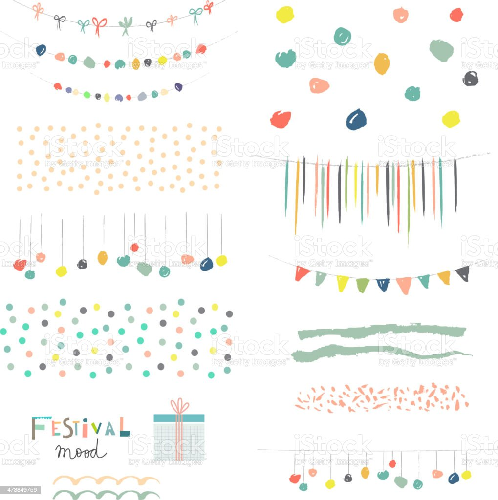 Collection of Hand Drawn Garlands, Party Banners and decor elements vector art illustration