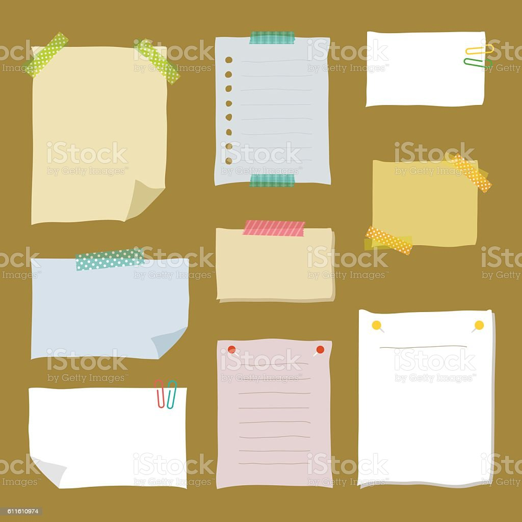 Collection of hand drawn note papers. vector art illustration
