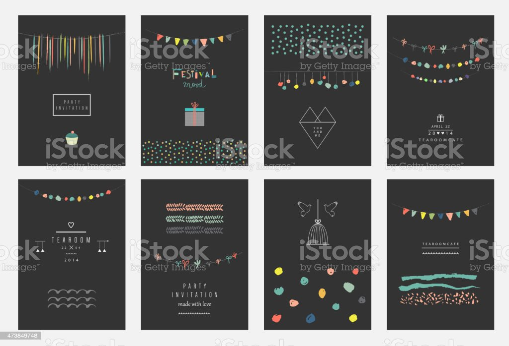 Collection of hand drawn party cards and invitations. vector art illustration