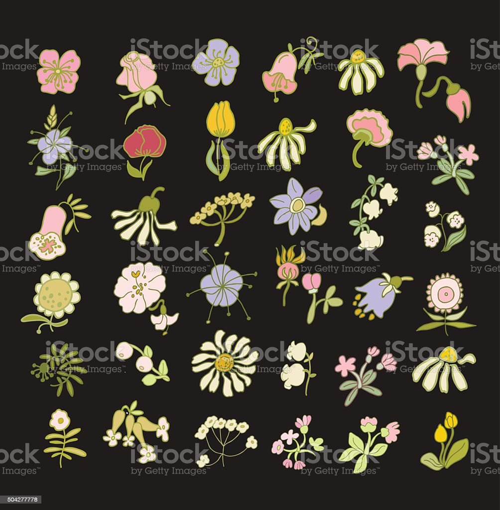 Collection of hand drawn pastel flowers. Elements for your design. vector art illustration