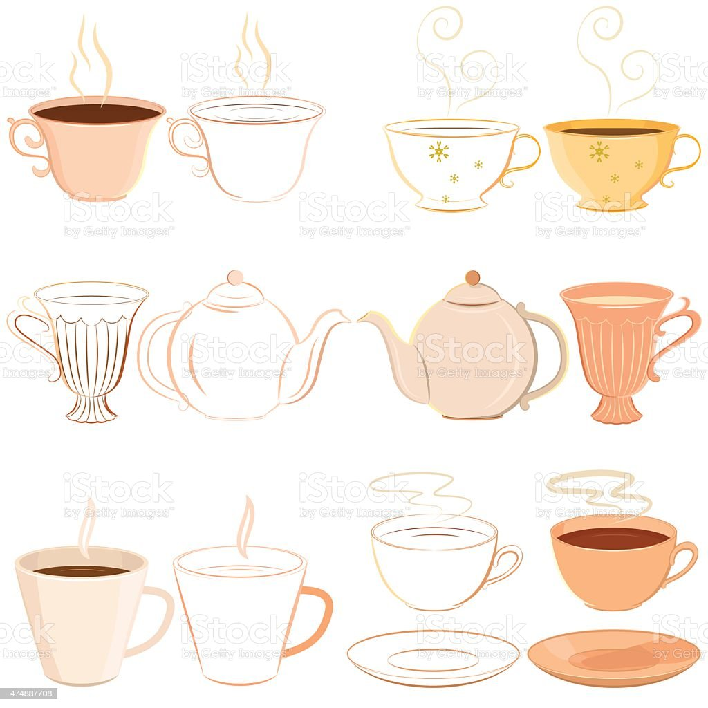 Collection of hand drawn teacups, saucer and teapot with outline vector art illustration