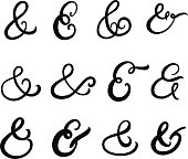 Collection of hand written ampersands.