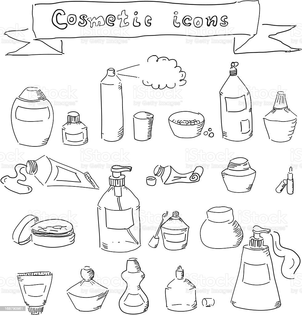 collection of hand-drawn cosmetic containers royalty-free stock vector art