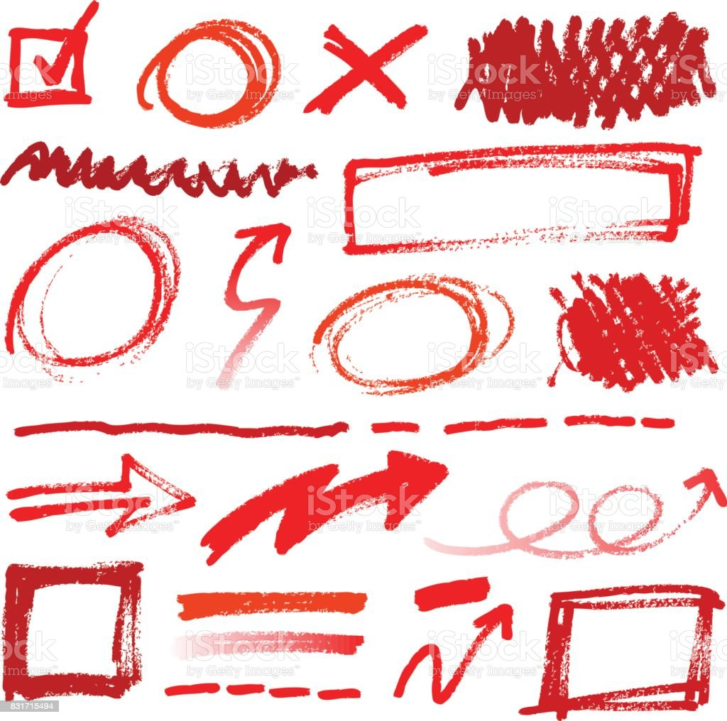 Collection of hand-drawn red pencil corrections vector art illustration
