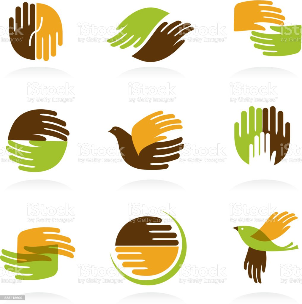 Collection of Hands icons and symbols vector art illustration