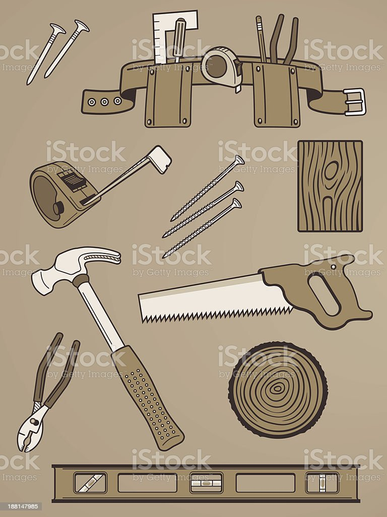 Collection of Handy Tool Vectors royalty-free stock vector art