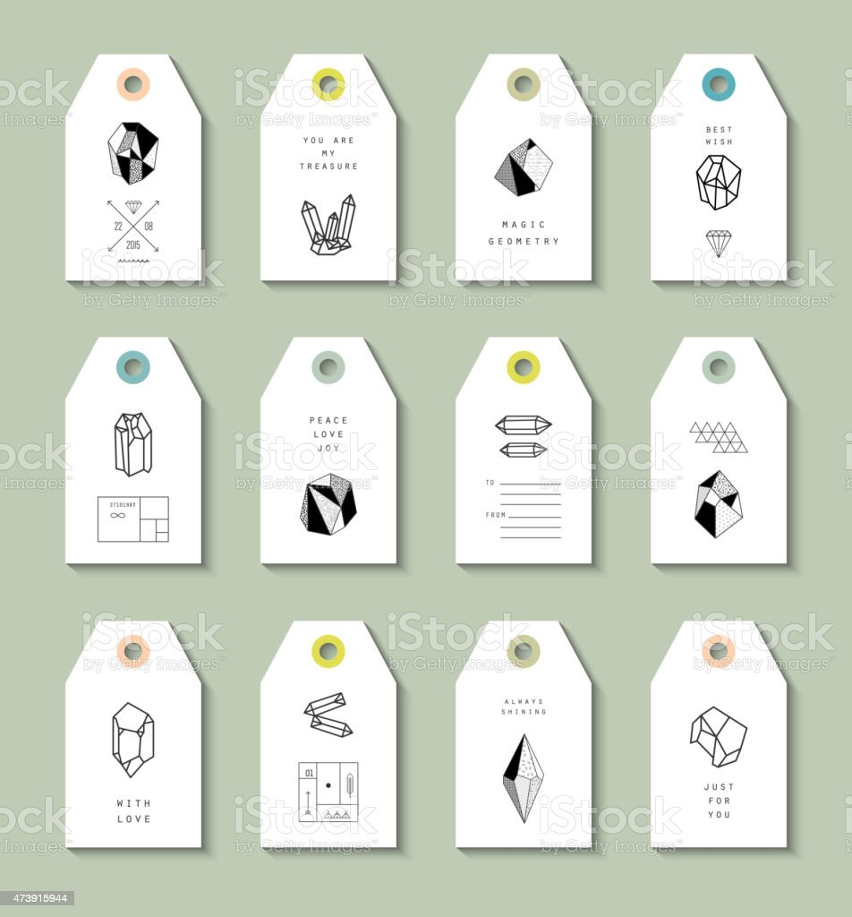 Collection of Hang Tags with crystals in polygon style vector art illustration