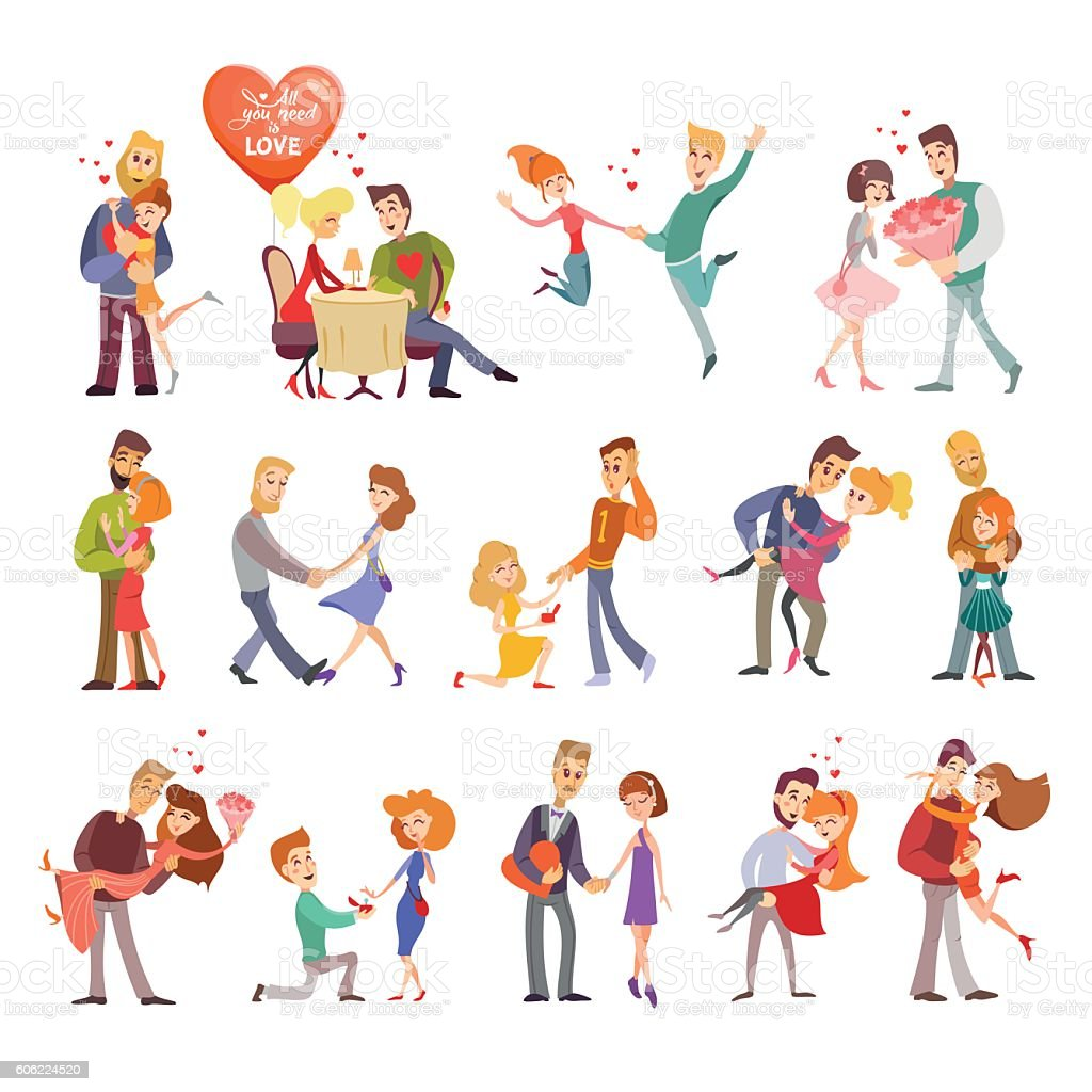 Collection of happy couple silhouettes icons vector art illustration