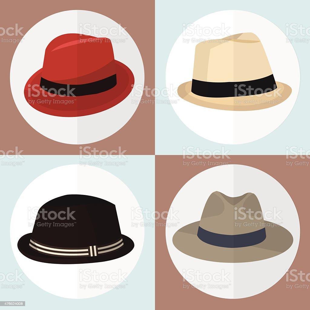 Collection of hat man icon great vector art illustration